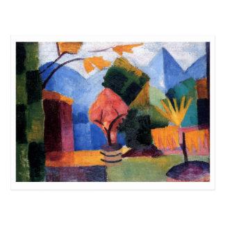 August Macke - jardín en el aceite del lago 1913 Postal