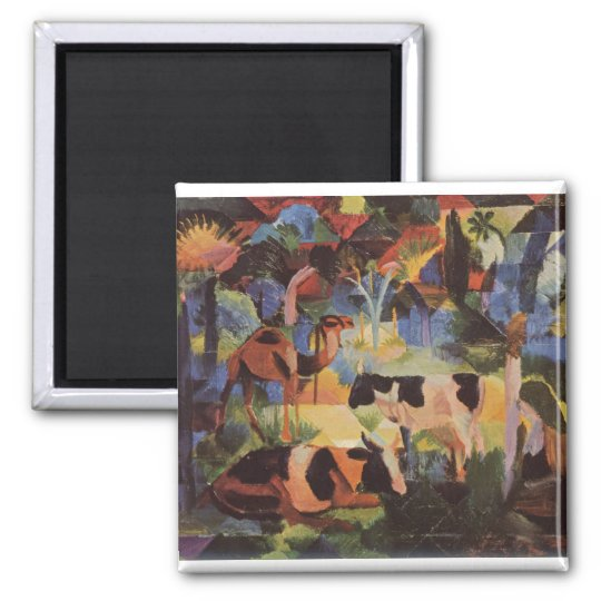 August_Macke - Landscape w/ Cows and Camel 1914 Magnet