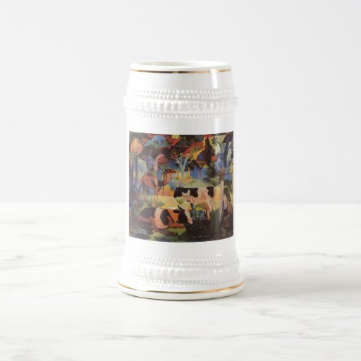 August_Macke - Landscape w/ Cows and Camel 1914 18 Oz Beer Stein