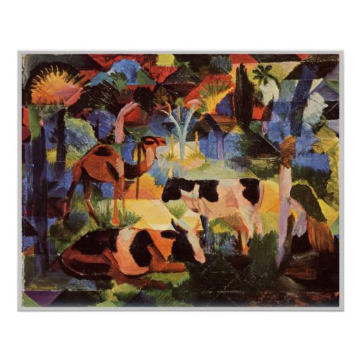 August Macke Landscape with Cows and Camels 1914 Poster