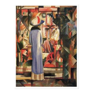 August Macke - Large Bright Shop Window 1912 Oil Postcard