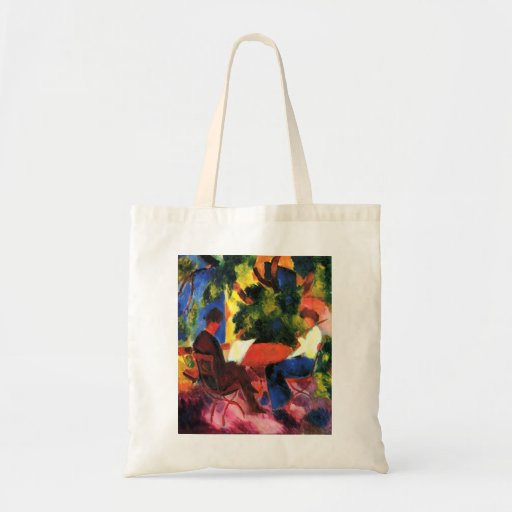 August_Macke - Paar am Gartentisch 1914 Oil Canvas Budget Tote Bag