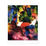 August_Macke - Paar am Gartentisch 1914 Oil Canvas Postcard