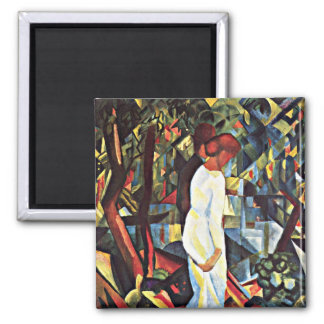 August Macke: Pares en las maderas, ilustraciones  Imán Cuadrado