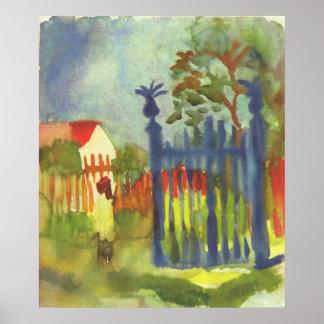 August Macke - puerta de jardín Gartentor 1914 Póster