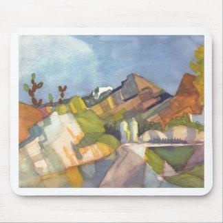 August Macke - Rocky Landscape 1914 Watercolor Mouse Pad