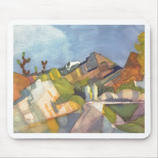 August Macke - Rocky Landscape 1914 Watercolor Mouse Pad