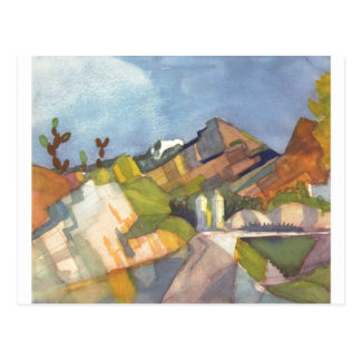 August Macke - Rocky Landscape 1914 Watercolor Postcard