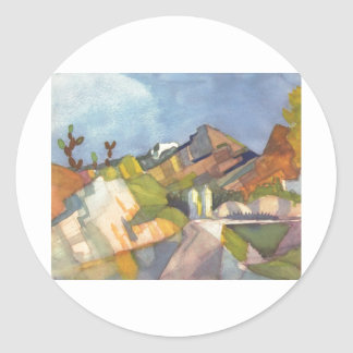 August Macke - Rocky Landscape 1914 Watercolor Classic Round Sticker