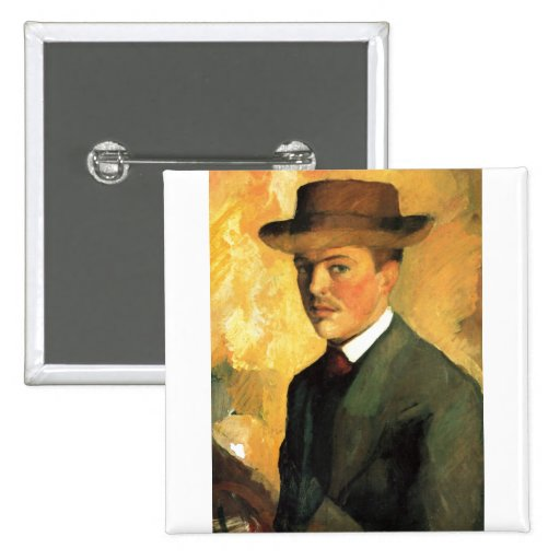 August Macke - Self Portrait with Hat 1909 Oil 2 Inch Square Button