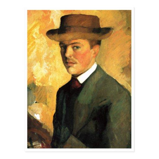 August Macke - Self Portrait with Hat 1909 Oil Postcard