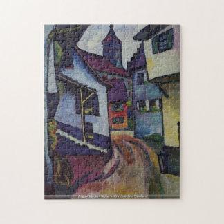 August Macke - Street with a church in Kandern puz Jigsaw Puzzle