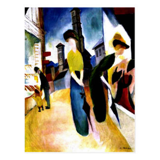 August Macke - Two Women in Front of a Hat Shop Postcard