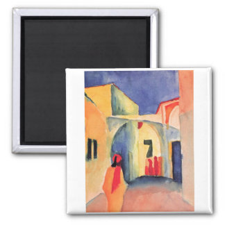 August Macke - View Into A Lane 1914 watercolor 2 Inch Square Magnet