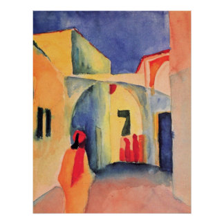 August Macke - View Into A Lane 1914 watercolor Poster