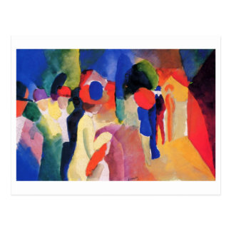 August Macke - With Yellow Jacket 1913 Watercolor Postcard
