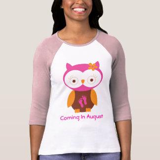 August Maternity Announcement Owl T-shirt