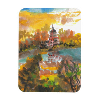 August Pagoda and River Art Magnet