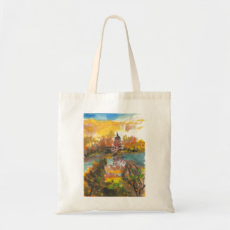August Pagoda and River Landscape Tote Canvas Bag