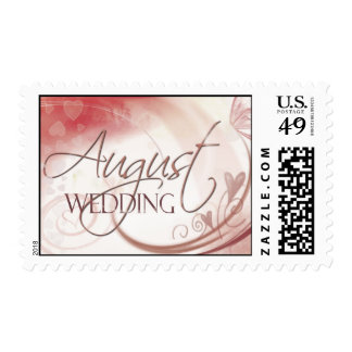 August pastel heart wedding postage