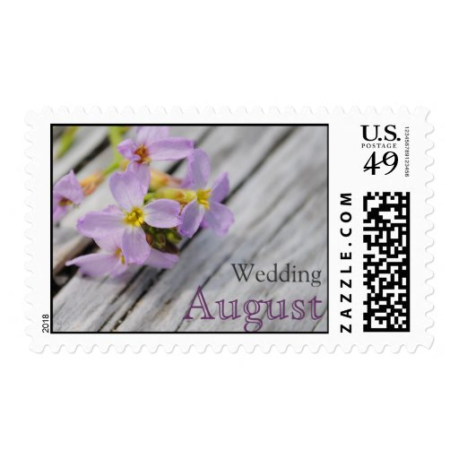 August Purple Beach Flowers Wedding Postage