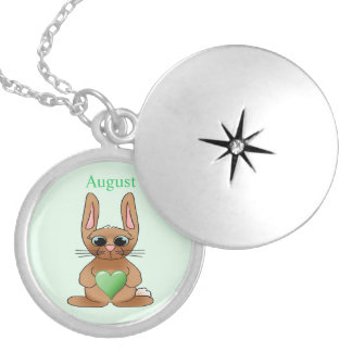 August Rabbit Birthstone Peridot Locket Necklace