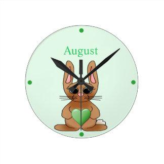 August Rabbit Birthstone Peridot Round Clock