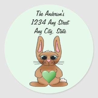 August Rabbit Birthstone Peridot Round Sticker