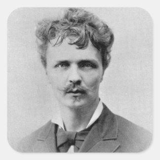 August Strindberg, el 1 de enero de 1884 Pegatina Cuadrada