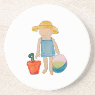 August Toddler on Summer Beach Holiday Baby Girl Beverage Coaster