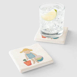 August Toddler on Summer Beach Holiday Baby Girl Stone Coaster