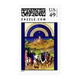 August - Tres Riches Heures du Duc de Berry Postage Stamp