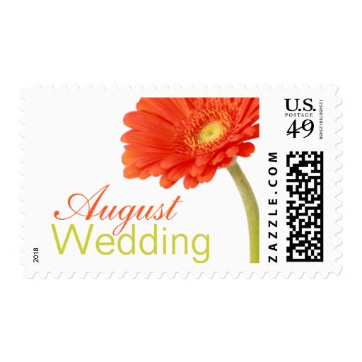 august wedding invitation stamps gerbera postage zazzle