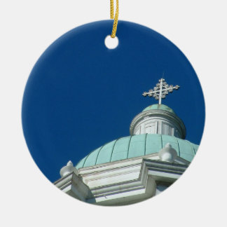 Augusta church steeple ceramic ornament