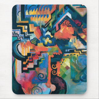 Auguste Macke - Homage To Bach Abstract Modern Art Mouse Pad