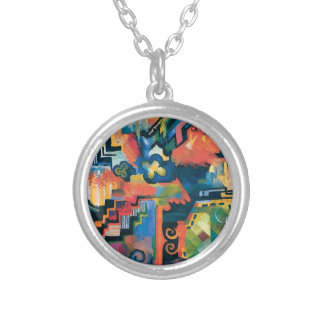 Auguste Macke - Homage To Bach Abstract Modern Art Silver Plated Necklace
