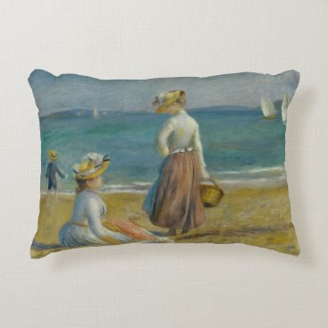 Beach Themed Auguste Renoir - Figures on the Beach Accent Pillow