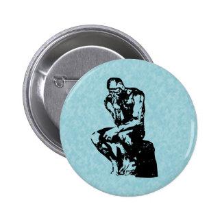 Auguste Rodin Thinker Light Cyan Button