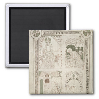 Augustine at the Feet of Christ & Scribe 2 Inch Square Magnet