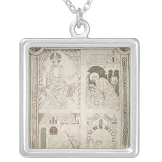 Augustine at the Feet of Christ & Scribe Silver Plated Necklace