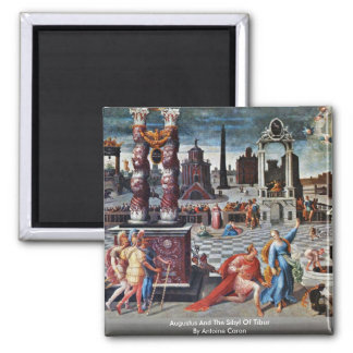 Augustus And The Sibyl Of Tibur By Antoine Caron 2 Inch Square Magnet