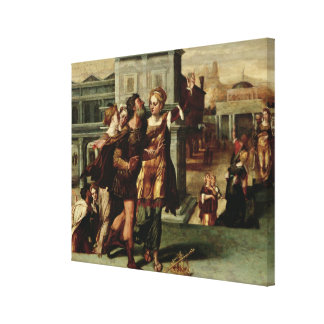 Augustus  and the Tiburtine Sibyl, c.1540-50 Stretched Canvas Print