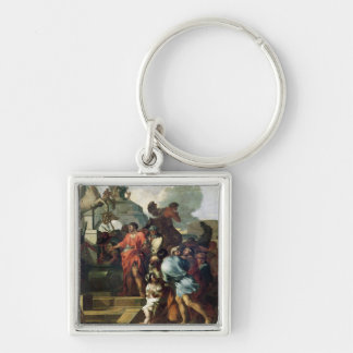 Augustus  before the Tomb of Alexander III Silver-Colored Square Keychain