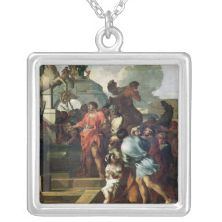 Augustus  before the Tomb of Alexander III Silver Plated Necklace