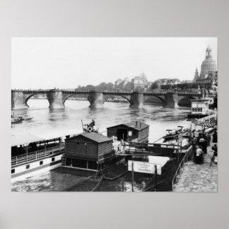 Augustus Bridge, Dresden, c.1910 Print