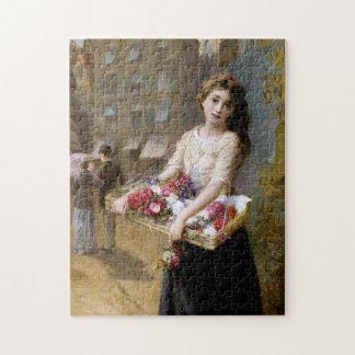 Augustus Edwin Mulready: A Street Flower Seller Jigsaw Puzzle