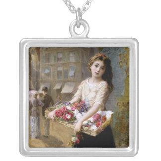 Augustus Edwin Mulready: A Street Flower Seller Square Pendant Necklace