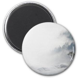 Aullido de los lobos en la luna imán redondo 5 cm