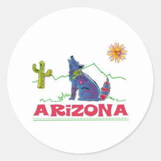 Aullido del coyote de Arizona Pegatina Redonda