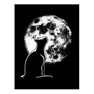 Aullido en el gato de la luna postal